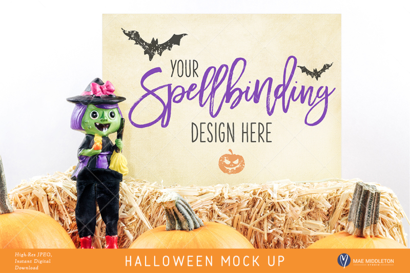 Free Halloween mock up, witch styled stock, 2 options Hi-res JPEG (PSD Mockups)