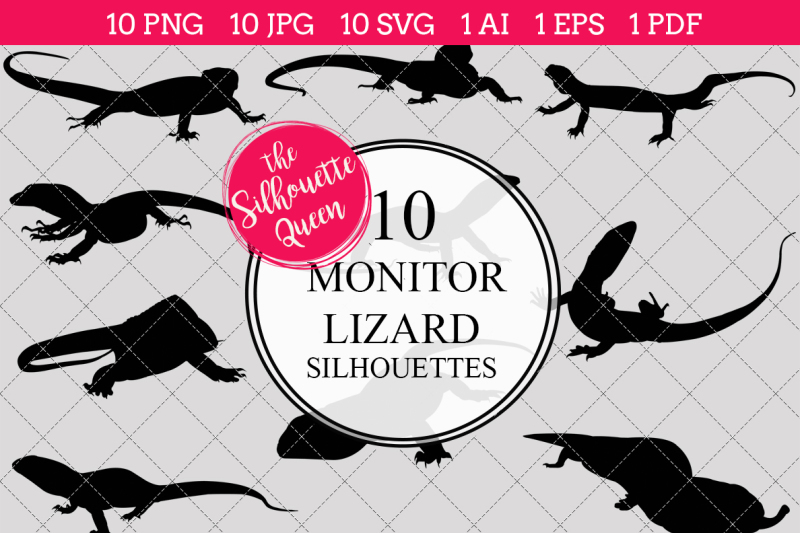 monitor-lizard-silhouettes-vector