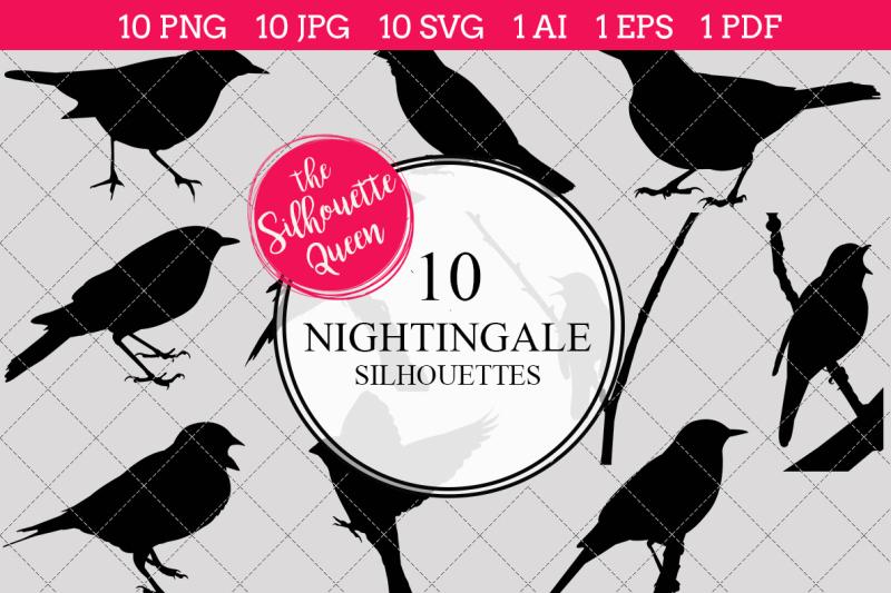 nightingale-silhouettes-vector
