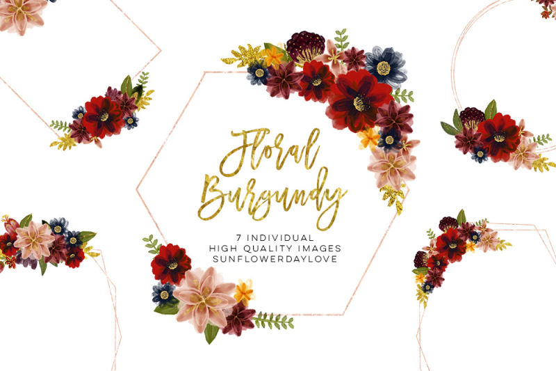Floral Burgundy Geometric Frame Fall Floral Watercolor Clipart By Sunflower Day Love