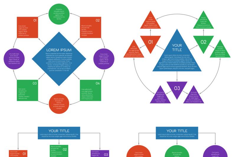 hierarchy-diagrams-flowchart-vector-infographics-set