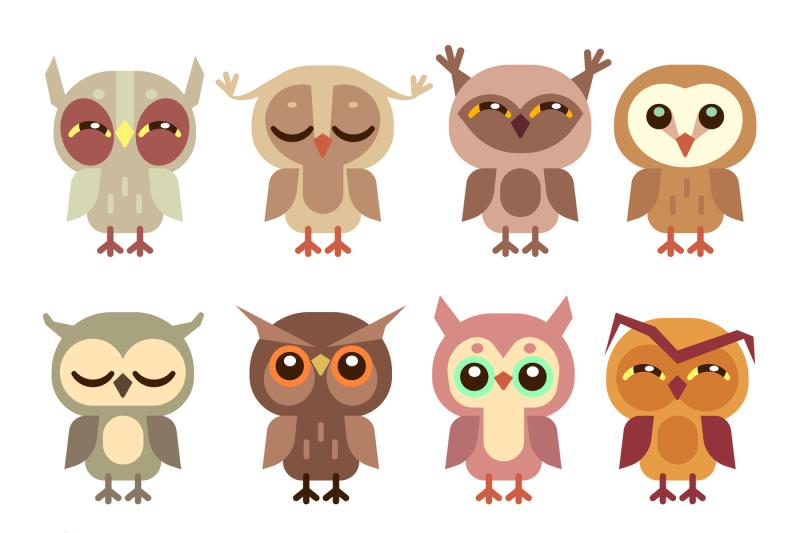 funny-cartoon-owls-vector-set