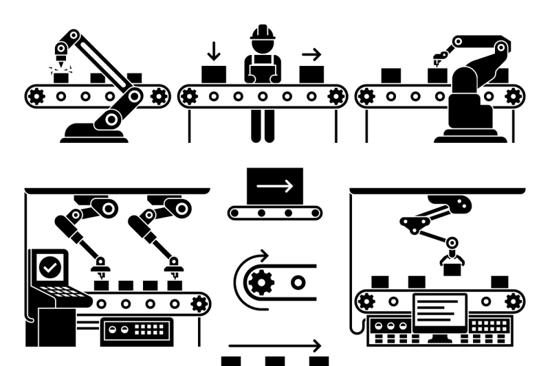 conveyor-production-manufacturing-line-and-workers-vector-icons