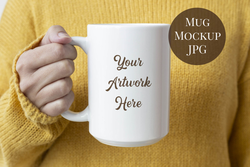 Free 15oz Mug Mockup - Woman holding mug (PSD Mockups)