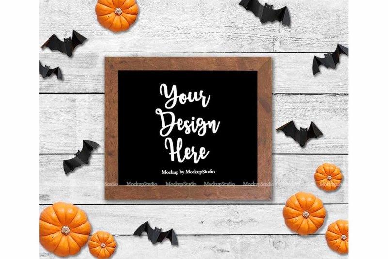 Free Halloween Farm Wood Sign Mock Up, Farmhouse Sign Wood Frame (PSD Mockups)