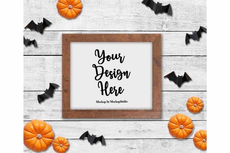 Free Halloween Party Sign Mockup, Fall Autumn Farm Wood Sign (PSD Mockups)
