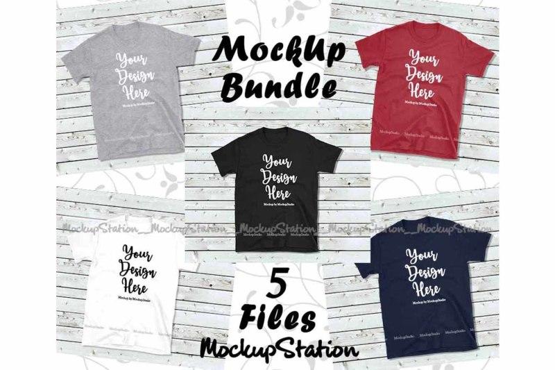 Free Tshirt Mockup Bundle 5 Colors Wood Background Shirt Flat Lay (PSD Mockups)