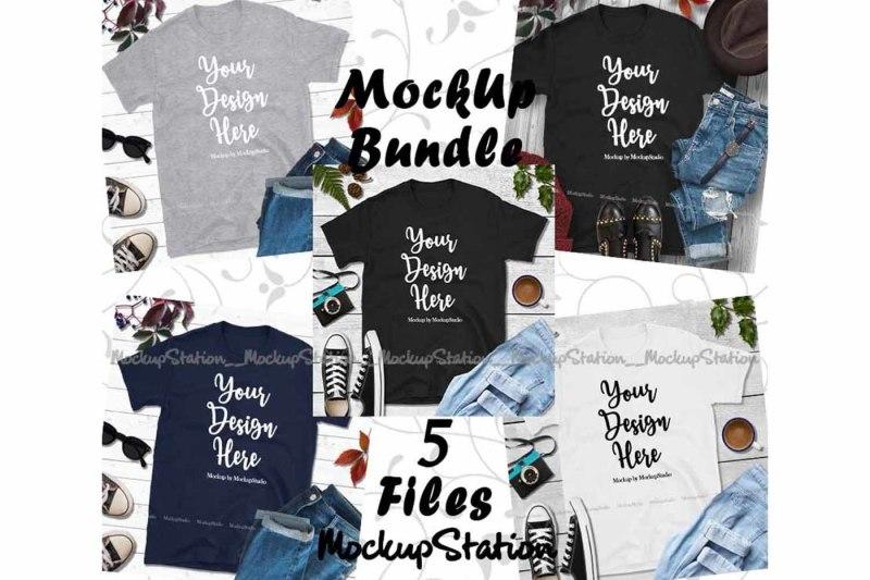 Free Fall Tshirt Mockup Bundle 5 Colors Gildan 64000 Shirt Flat (PSD Mockups)