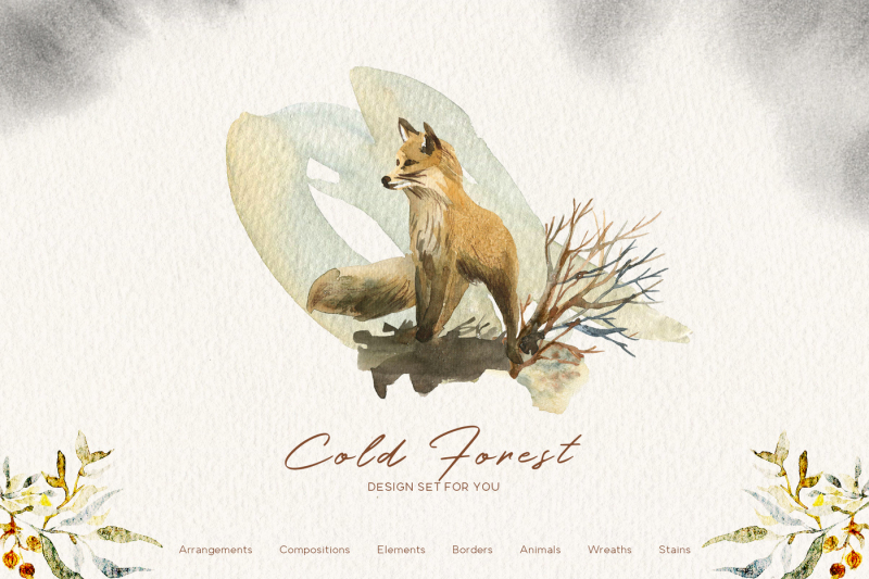 cold-forest-winter-graphic-set