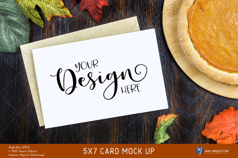 Free 5x7 Card Thanksgiving Mock up, invitation style - High res JPG (PSD Mockups)