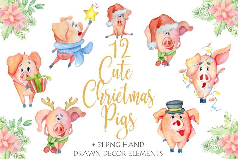 cute-christmas-watercolor-pigs
