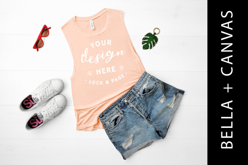 Free Peach Bella Canvas 8803 Tank Top Gym Vest Mockup (PSD Mockups)