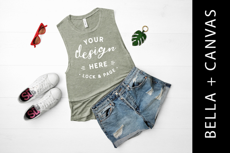 Free Heather Stone Bella Canvas 8803 Tank Top Mockup Fashion Flat Lay (PSD Mockups)