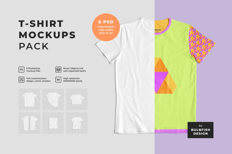 Free Customizable T-Shirt Mockups Pack (PSD Mockups)