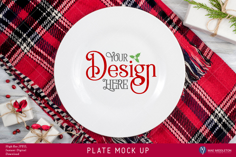 Free Plate Mock up for Christmas, Holiday styled stock photo. High-res JPEG (PSD Mockups)