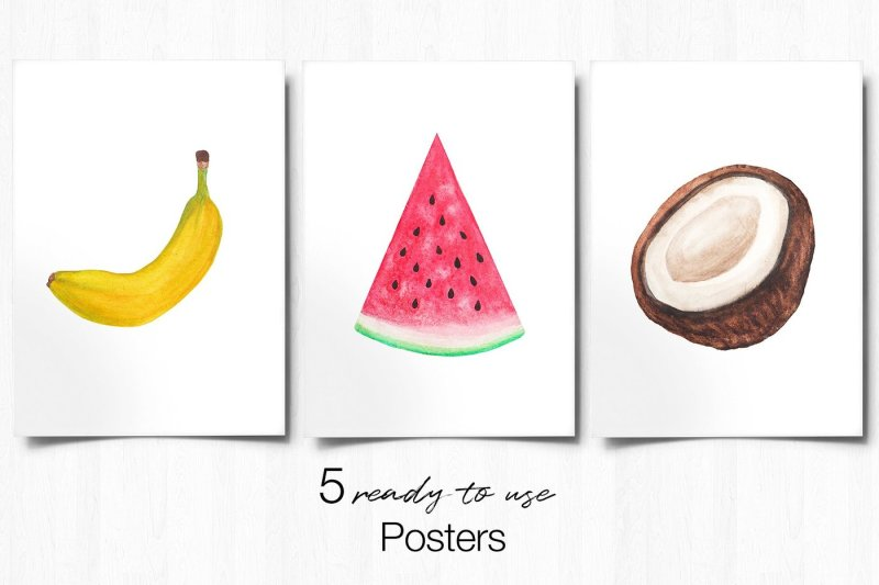 fruits-digital-paper-watercolor-fruit-poster-hand-painted-fruits