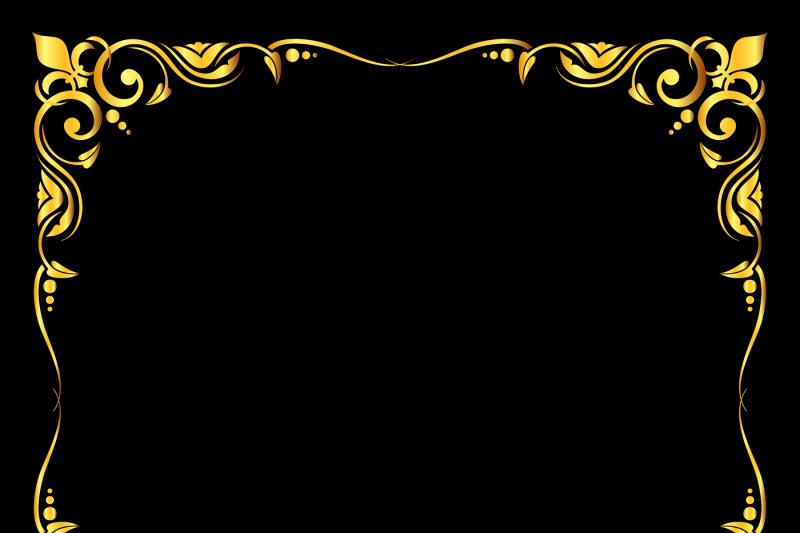 golden-vector-ornate-royal-fleur-de-lys-frame-black-background