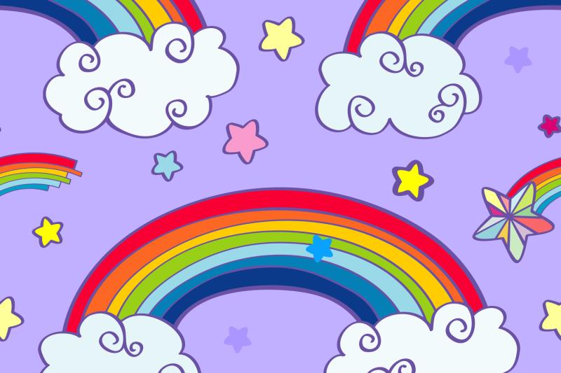 hand-drawn-cartoon-rainbow-clouds-and-falling