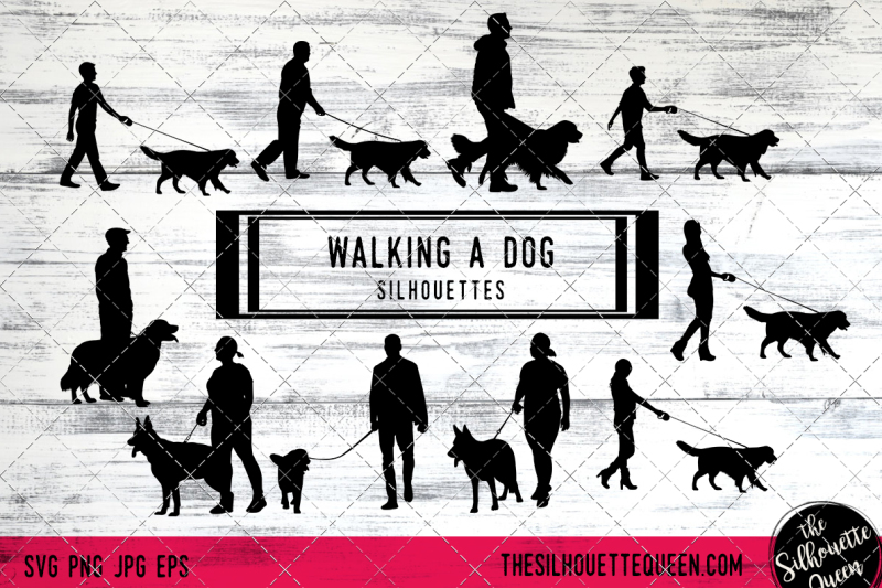 walking-a-dog-silhouette-vectors