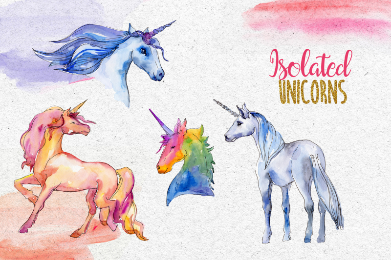 watercolor-sparkly-unicorns-png-set
