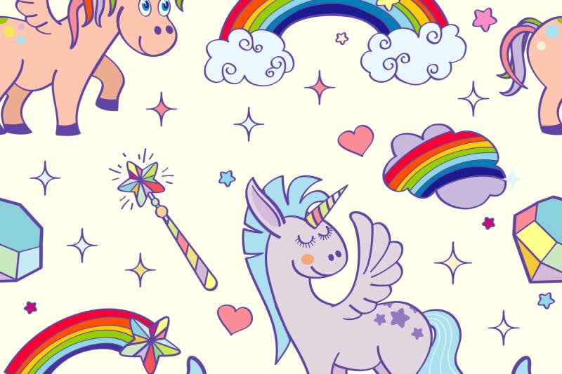 vector-hand-drawn-unicorns-and-magic-seamless-pattern