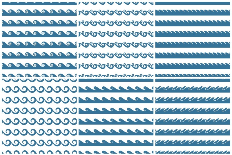 set-of-vector-blue-waves-seamless-patterns