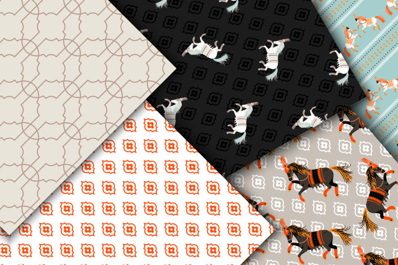 horse-show-seamless-patterns