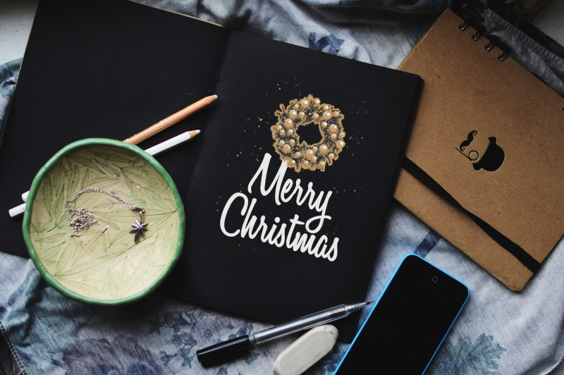 christmas-elements-and-lettering
