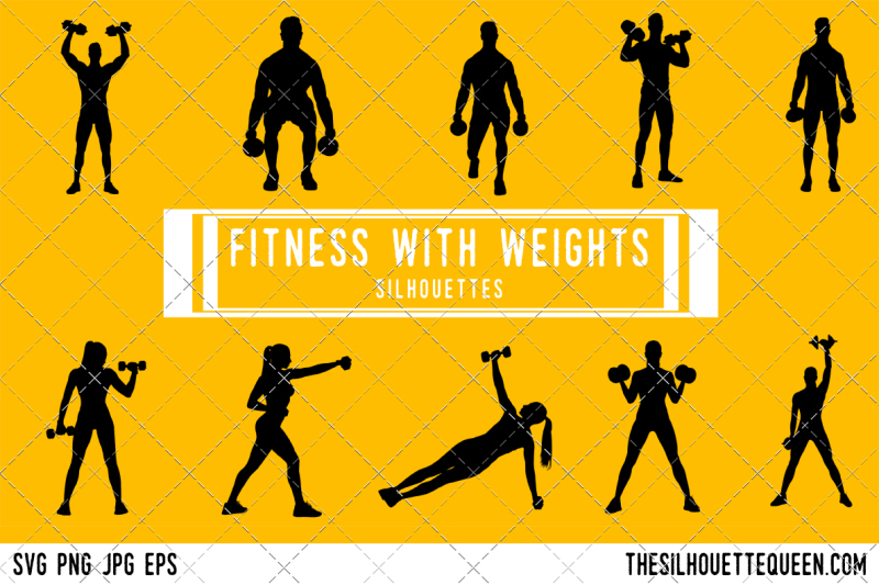 fitness-with-weights-silhouette-vector