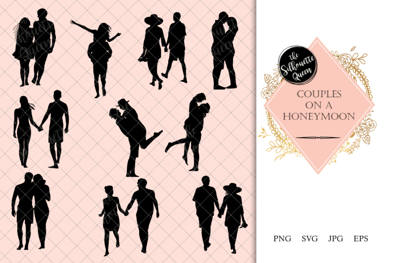 couples-on-a-honeymoon-silhouette-vector