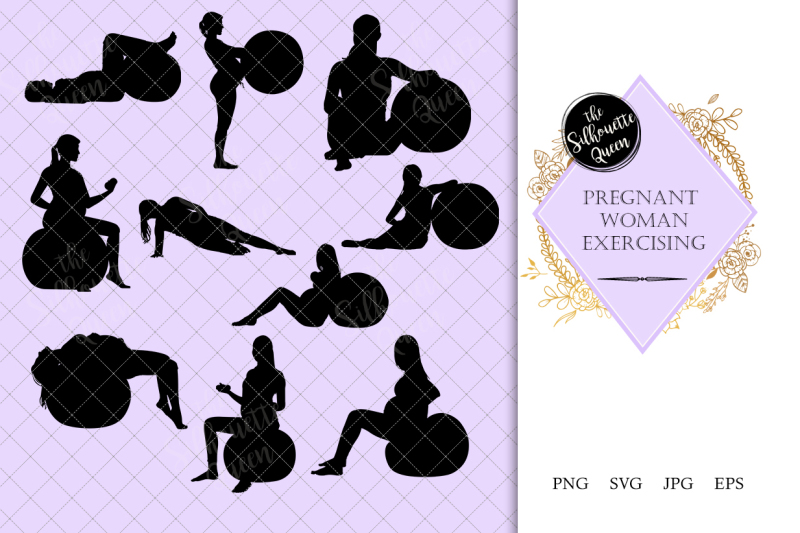 pregnant-woman-exercising-silhouette-vector
