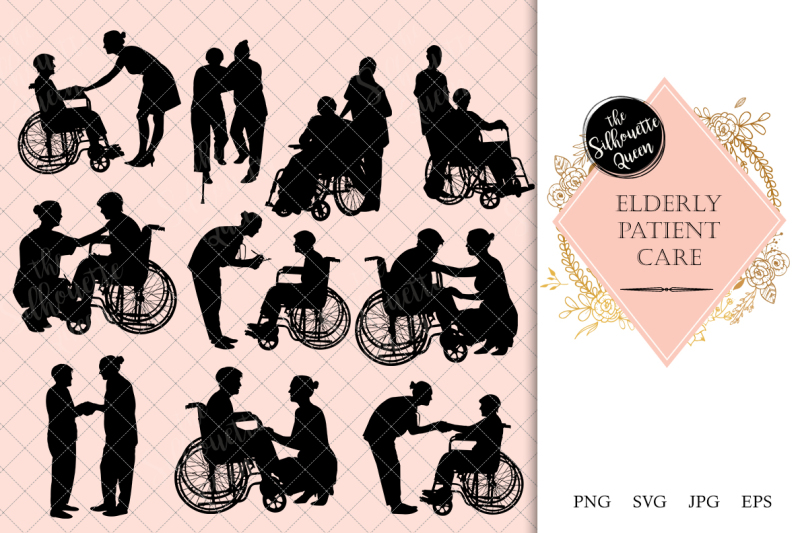 elderly-patient-care-silhouette-vector