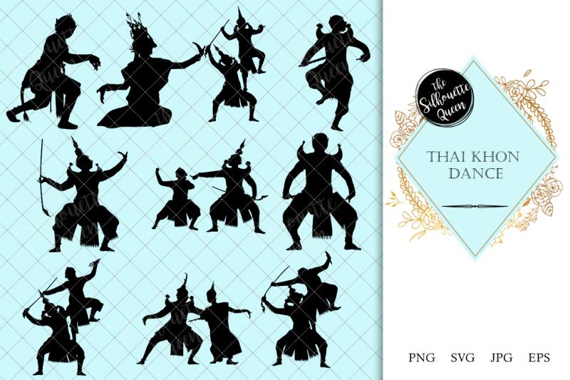 thai-khon-dance-silhouette-vector
