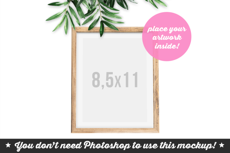 Free Non Photoshop Mockup Wooden Frame with Twig (PSD Mockups)