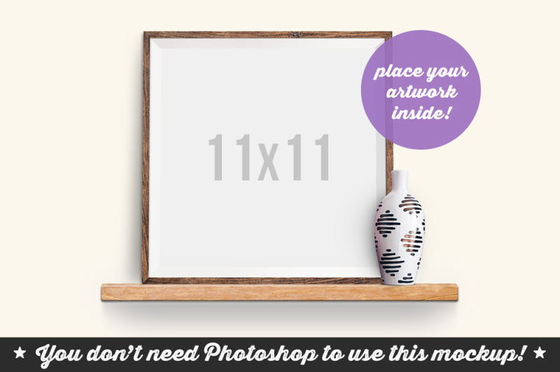 Free Non Photoshop Mockup Frame on the Wooden Shelf (PSD Mockups)