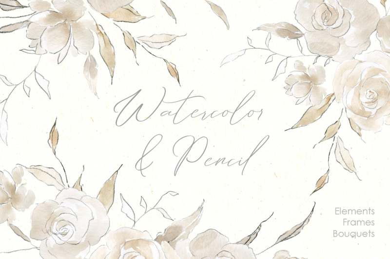 watercolor-and-pencil-beige-flowers-roses-peonies-bouquets-frames