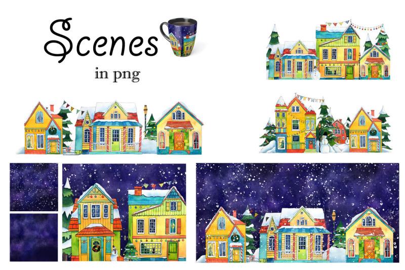 winter-village-watercolor-set