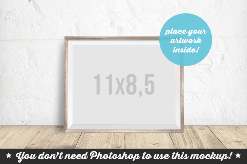 Free Non Photoshop Mockup Bright Wooden Frame (PSD Mockups)