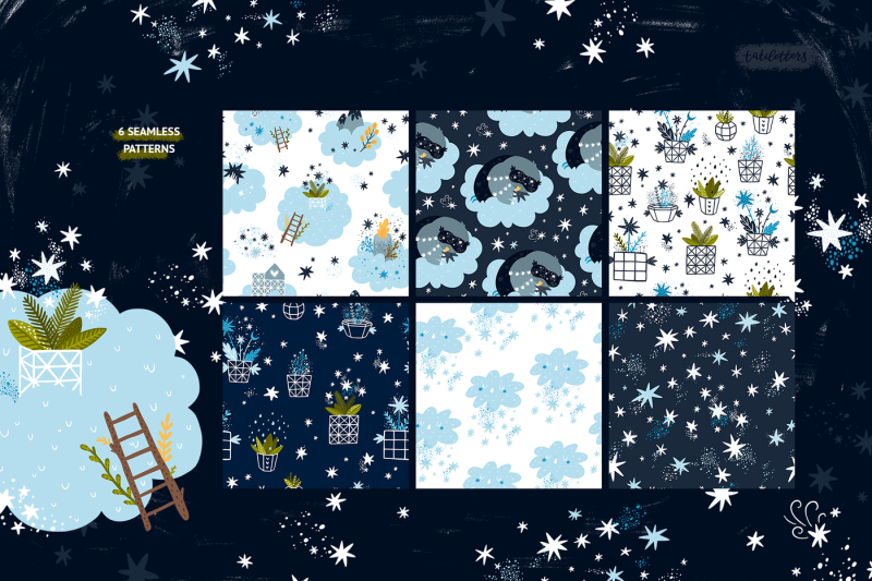starry-night-illustrations-and-pattern