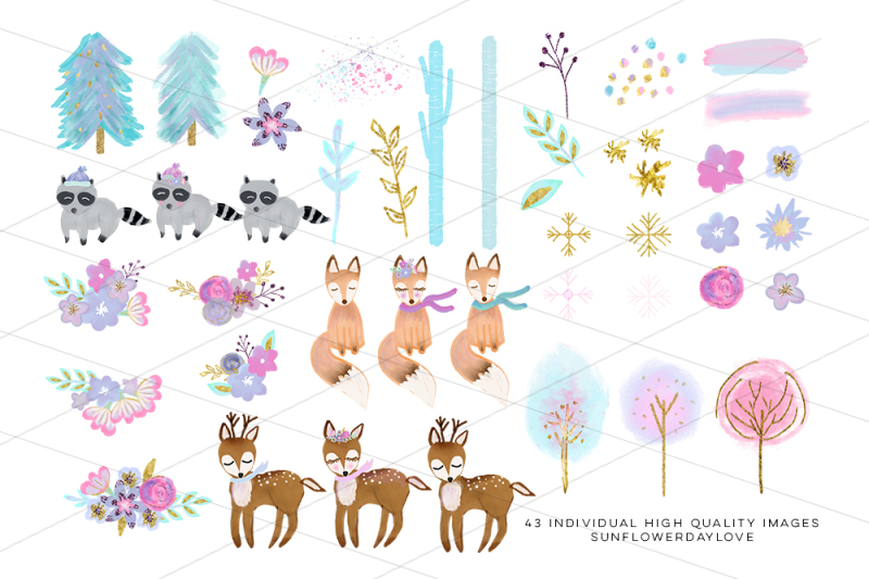 Winter woodland. Clipart forest animal clip