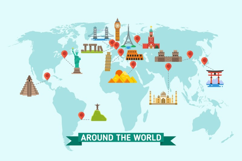travel-landmarks-on-world-map-vector-illustration