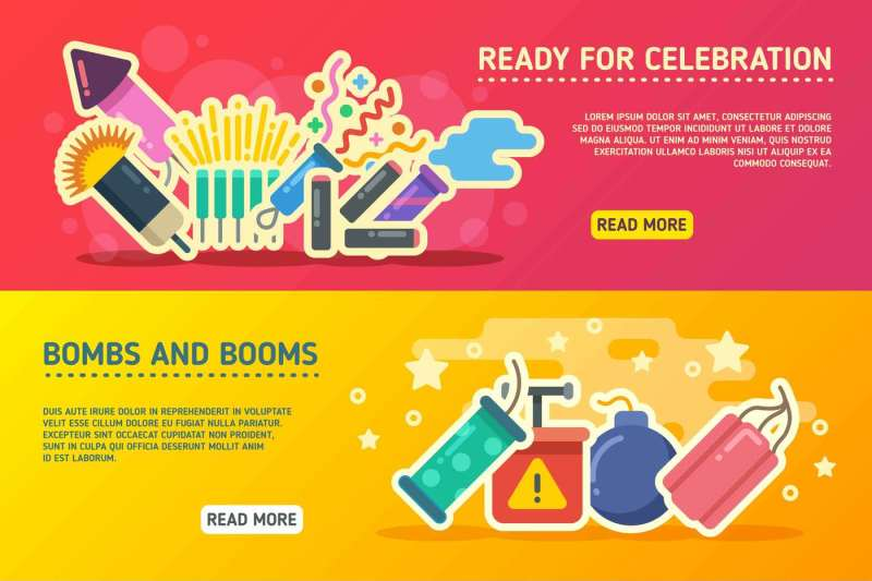 holiday-fire-crackers-show-set-of-vector-business-banners