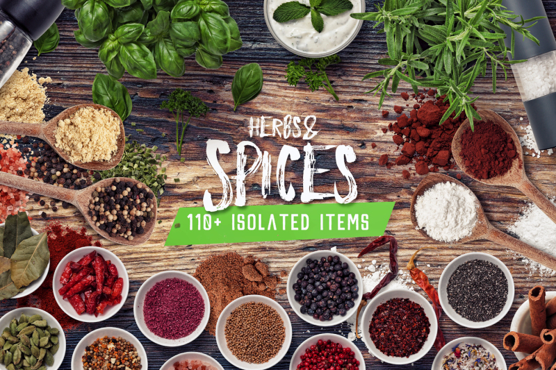Free Herbs & Spices - Isolated Food Items (PSD Mockups)