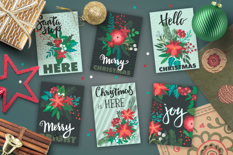 christmas-florals-vector-collection