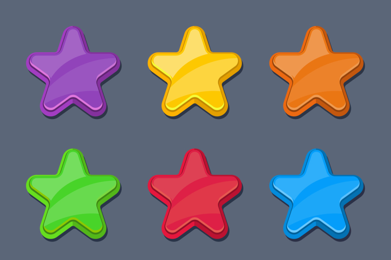 vector-cartoon-color-glossy-stars-shiny-buttons