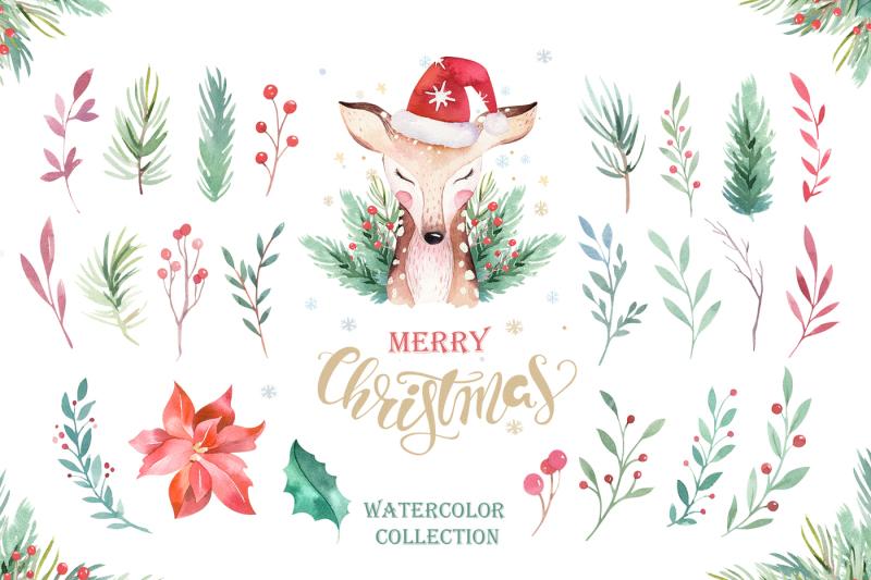 watercolor-christmas-animals
