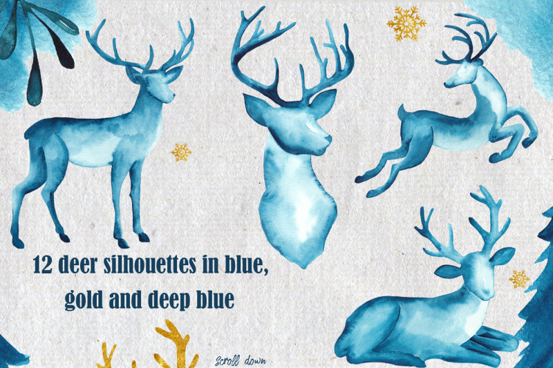 winter-in-deep-blue-watercolor-collection