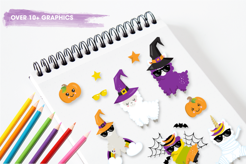 halloween-llamas-graphics-and-illustrations