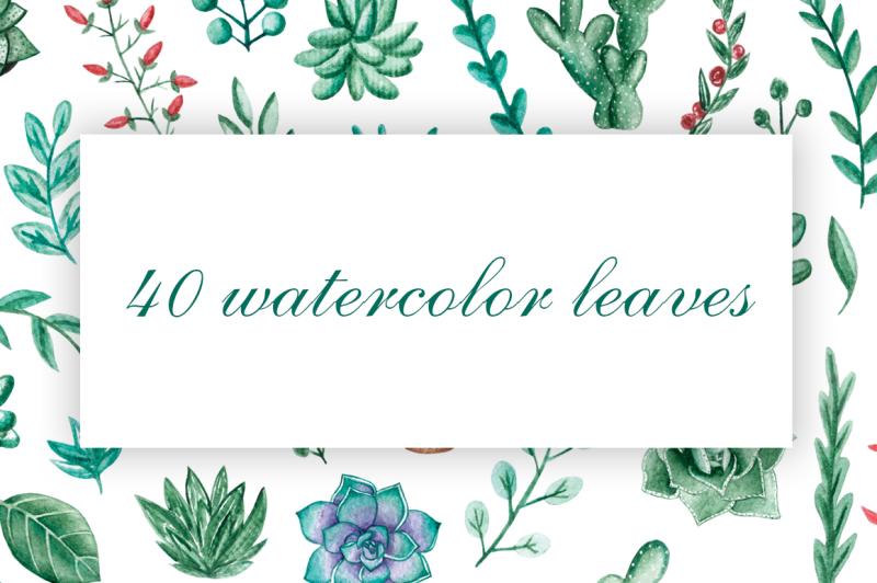 watercolor-leaves