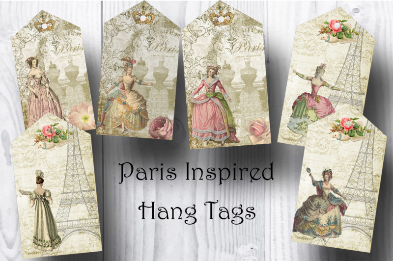 Paris Inspired Victorian Ladies Hang Tags